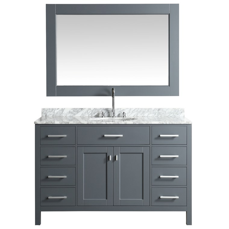 "Design Element London Stanmark 54"" Single Sink Vanity Set - Gray DEC076H-G-WT"