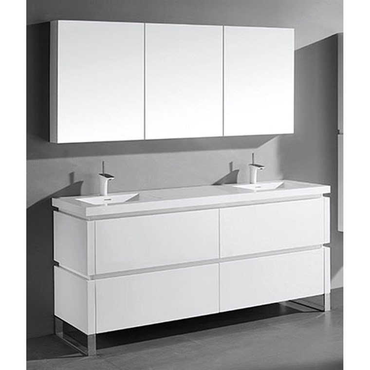 "Madeli Metro 72"" Double Bathroom Vanity for Integrated Basin - Glossy White B600-72D-001-GW"