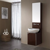 "Avanity Cube 16"" Single Bathroom Vanity, Sink, and Mirror Set - Wenge CUBE-VS16-WE"