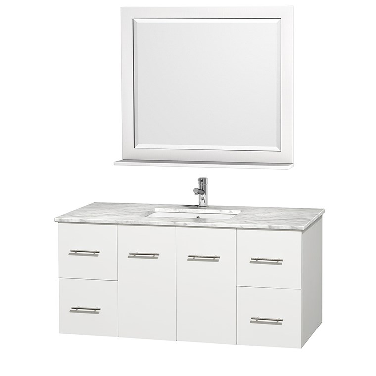 "Centra 48"" Single Bathroom Vanity for Undermount Sinks by Wyndham Collection - Matte White WC-WHE009-48-SGL-VAN-WHT-"