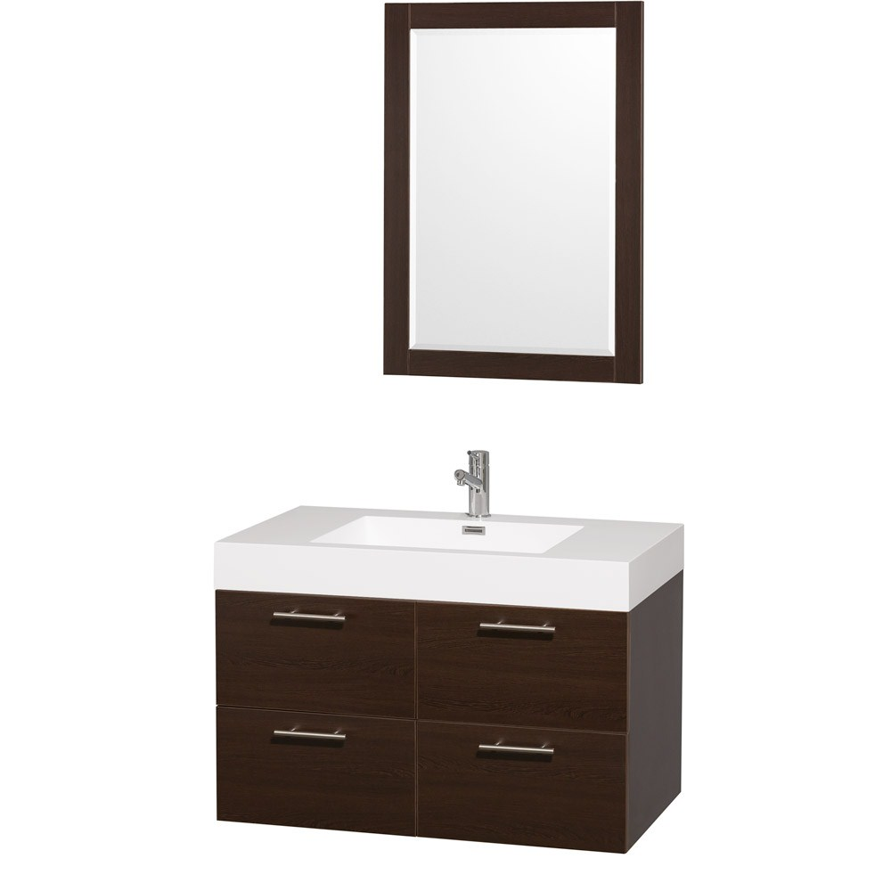 Amare 36 inch Wall Mounted Bathroom Vanity Set With Integrated Sink by Wyndham Collection Espresso