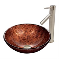 VIGO Mahogany Moon Glass Vessel Sink and Dior Faucet Set in Brushed Nickel Finish VGT393