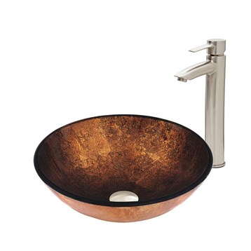 Vigo Russet Glass Vessel Sink and Shadow Faucet Set in Brushed Nickel Finish VGT502 by Vigo Industries