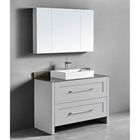 "Madeli Retro 48"" Single Bathroom Vanity for Glass Counter and Porcelain Basin - Whisper Grey B700-48C-001-WG-GLASS"