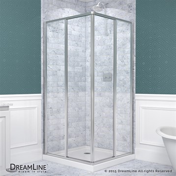 Bath Authority DreamLine Cornerview Framed Sliding Shower Enclosure And  SlimLine Double Threshold Shower Base (36 X 36) | Free Shipping   Modern  Bathroom