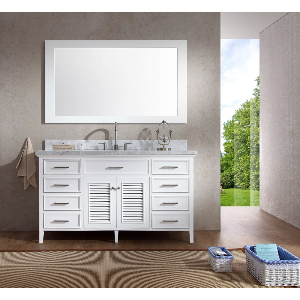 "Ariel Kensington 61"" Single Sink Vanity Set with Carrera White Marble Countertop - Whitenohtin Sale $1649.00 SKU: D061S-WHT :"