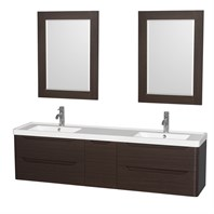 "Murano 72"" Wall-Mounted Double Bathroom Vanity Set with Integrated Sink by Wyndham Collection - Espresso WC-7777-72-DBL-VAN-ESP"