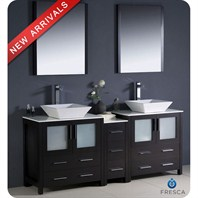 "Fresca Torino 72"" Espresso Modern Double Sink Bathroom Vanity with Side Cabinet, Vessel Sinks, and Mirrors FVN62-301230ES-VSL"