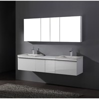 "Madeli Venasca 72"" Bathroom Vanity with Quartzstone Top - Glossy White Venasca-72-GW-Quartz"