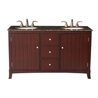 "Stufurhome 60"" Alexis Double Sink Vanity with Baltic Brown Granite Top - Rich Cherry GM-3320-60-BB"