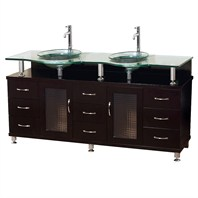 "Charlton 60"" Double Bathroom Vanity with Glass Countertop and Mirror - Espresso w/ Clear or Frosted Glass Counter B701D-60-ESP"