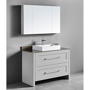 "Madeli Retro 48"" Single Bathroom Vanity for Glass Counter and Porcelain Basin, Whisper Grey B700-48C-001-WG-GLASS by Madeli"