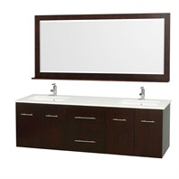 "Centra 72"" Double Bathroom Vanity Set by Wyndham Collection - Espresso WC-WHE009-72-DBL-ESP"