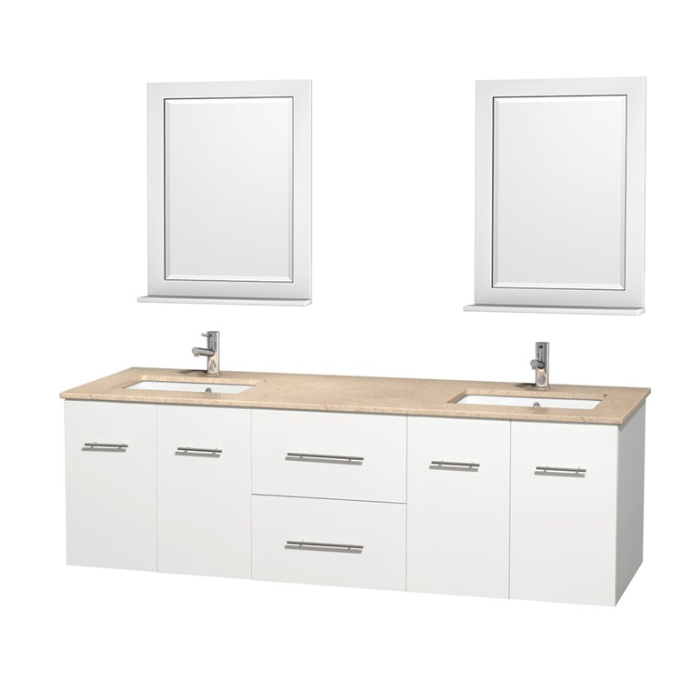 "Centra 72"" Double Bathroom Vanity for Undermount Sinks by Wyndham Collection - Matte White WC-WHE009-72-DBL-VAN-WHT-"