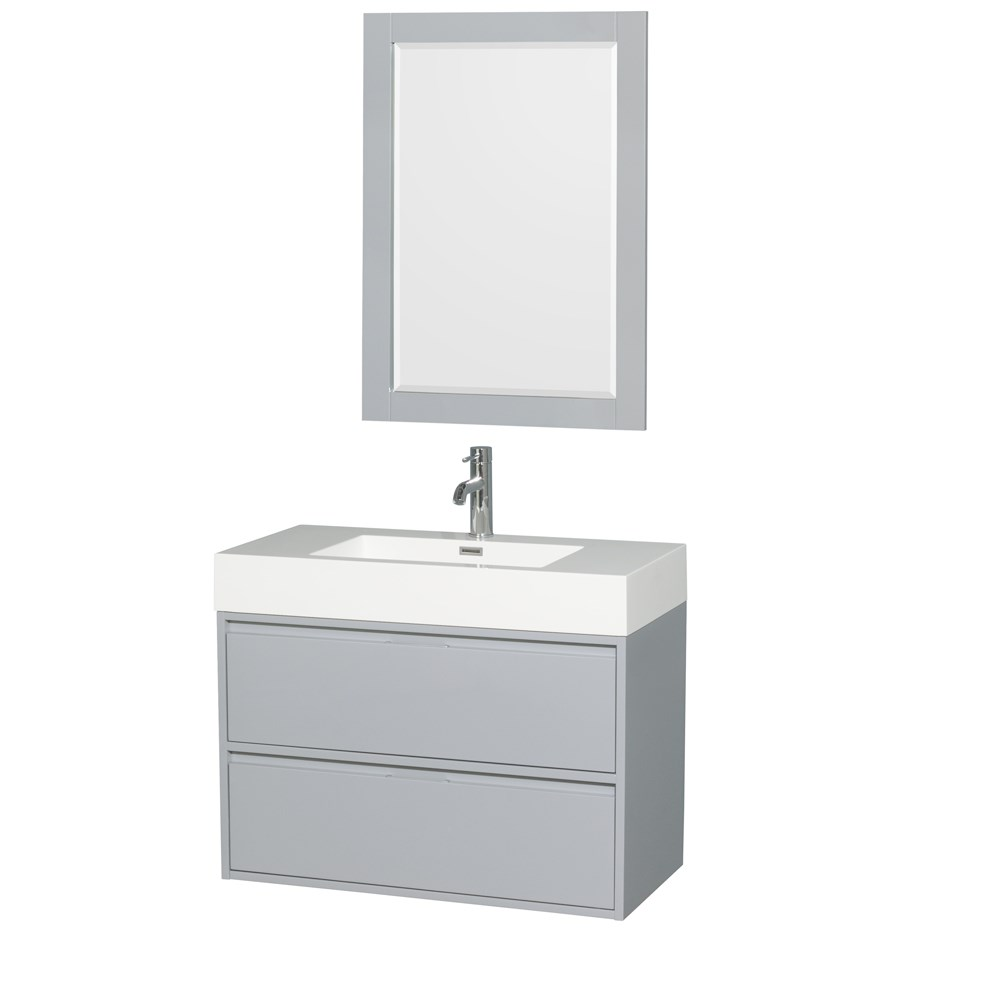 "Daniella 36"" Wall-Mounted Bathroom Vanity Set With Acrylic Resin Countertop, Integrated Sink and 24"" Mirror - Dove Gray WCR460036SDGARINTM24"