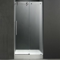"VIGO 48-inch Frameless Shower Door 3/8"" Frosted/Stainless Steel Hardware Left with White Base - Center Drain VG6041STMT48LWS"