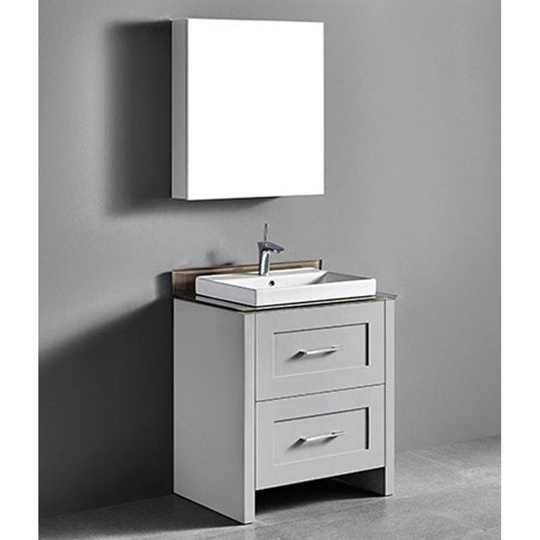"Madeli Retro 30"" Bathroom Vanity for Glass Counter and Porcelain Basin - Whisper Grey B700-30-001-WG-GLASS"