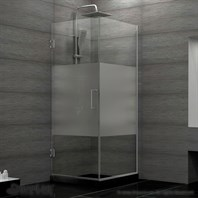 "DreamLine Unidoor Plus 30-3/8"" W x 30"" D x 72"" H Hinged Shower Enclosure, Half Frosted Glass Door SHEN-24300300F"