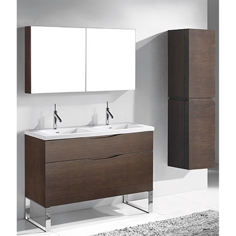 "Madeli Milano 48"" Double Bathroom Vanity for Integrated Basins - Walnut B200-48D-021-WA"