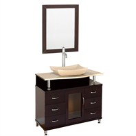 "Accara 36"" Bathroom Vanity with Drawers - Espresso w/ Ivory Marble Counter B706D-36-ESP-IVO"