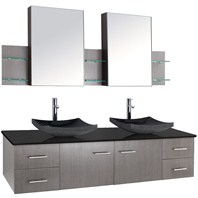 "Bianca 72"" Wall-Mounted Double Bathroom Vanity - Grey Oak Finish with Black Granite Countertop WHE007-72-GROAK-BLK"