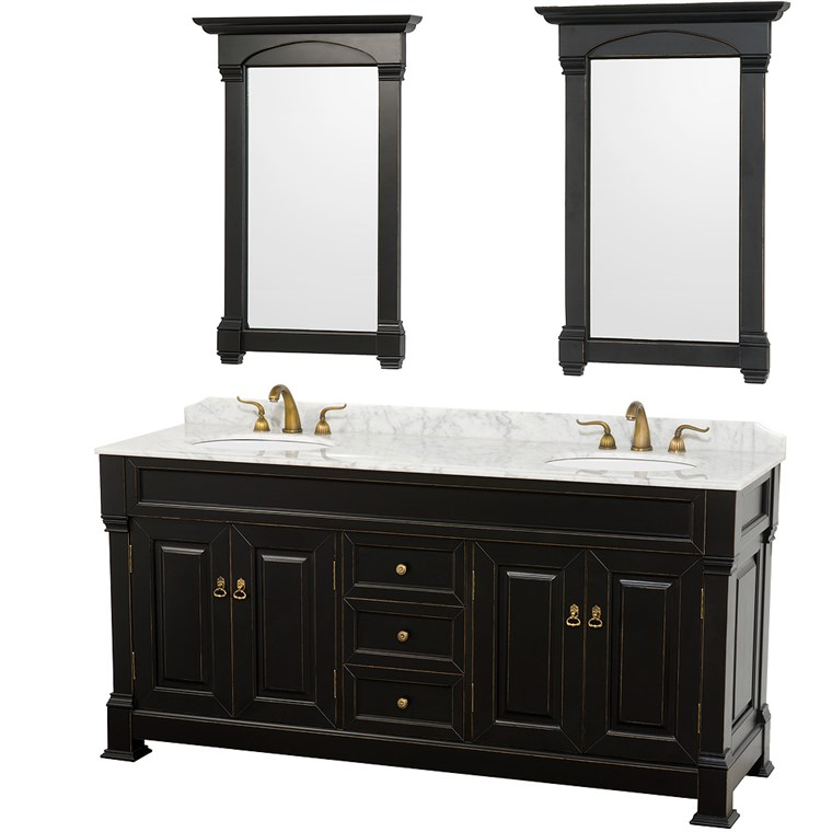 "Andover 72"" Traditional Bathroom Double Vanity Set by Wyndham Collection - Black WC-TD72-DBL-VAN-BLK"