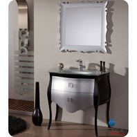 "Fresca Platinum Paris 37"" Glossy Silver and Black Bathroom Vanity with Swarovski Handles FPVN7514SL-BL"