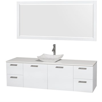 """Amare 72"""" Wall-Mounted Single Bathroom Vanity Set with Vessel Sink by Wyndham Collection, Glossy White... by Wyndham Collection®"""