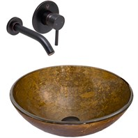 VIGO Textured Copper Glass Vessel Sink and Olus Wall Mount Faucet Set in Antique Rubbed Bronze VGT338