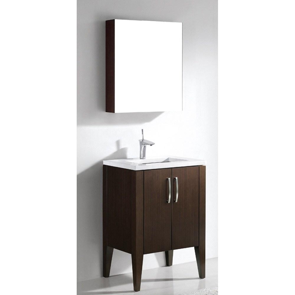 "Madeli Caserta 24"" Bathroom Vanity with Quartzstone Top - Walnutnohtin"