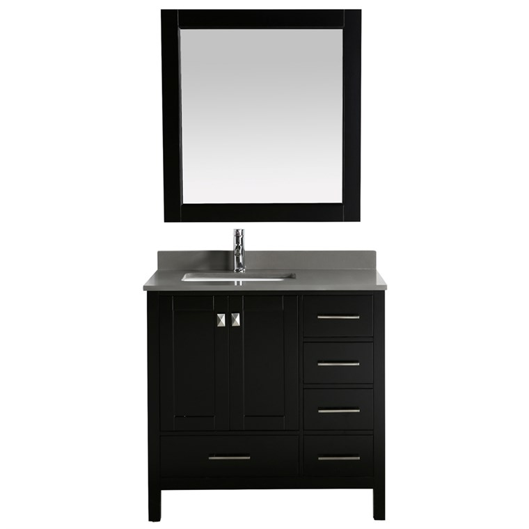 "Design Element London Hyde 36"" Single Sink Vanity - Espresso DEC082F-E-GT"