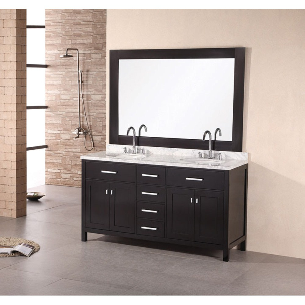 "Design Element London 61"" Double Vanity with White Carrera Countertop, Sinks and Mirror - Espressonohtin Sale $1799.00 SKU: DEC076A :"