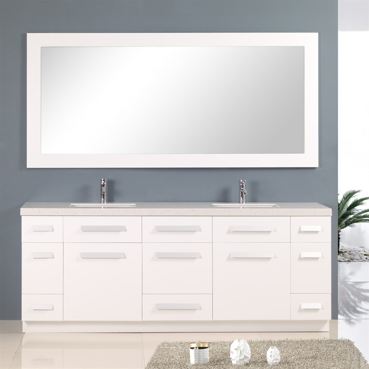 "Design Element Moscony 84"" Double Sink Vanity Set - White J84-DS-W"