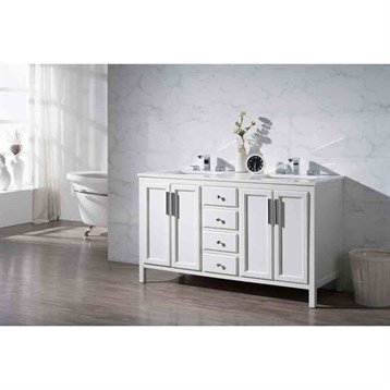 "Stufurhome Emily 59"" Double Sink Bathroom Vanity with White Quartz Top, White TY-6262-59-QZ by Stufurhome"