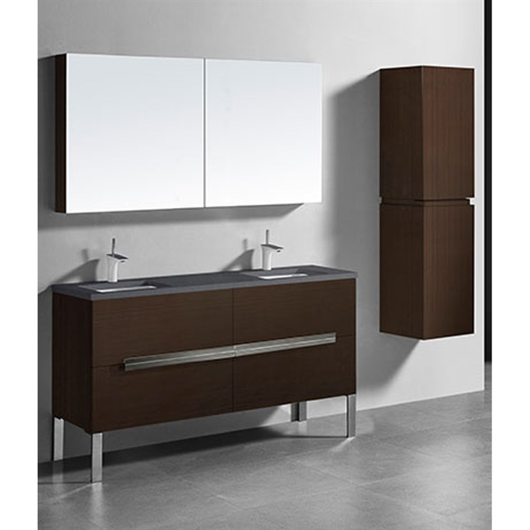 "Madeli Soho 60"" Double Bathroom Vanity for Quartzstone Top - Walnut B400-60D-001-WA-QUARTZ"