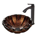 VIGO Walnut Shell Glass Vessel Sink and Linus Faucet Set in Antique Rubbed Bronze Finish VGT421