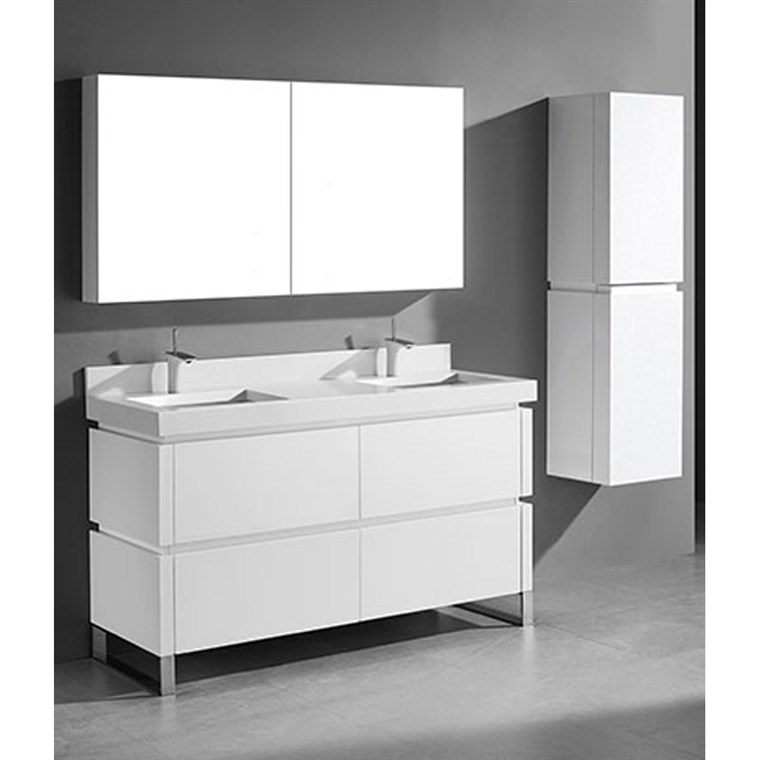 "Madeli Metro 60"" Double Bathroom Vanity for Quartzstone Top - Glossy White B600-60D-001-GW-QUARTZ"