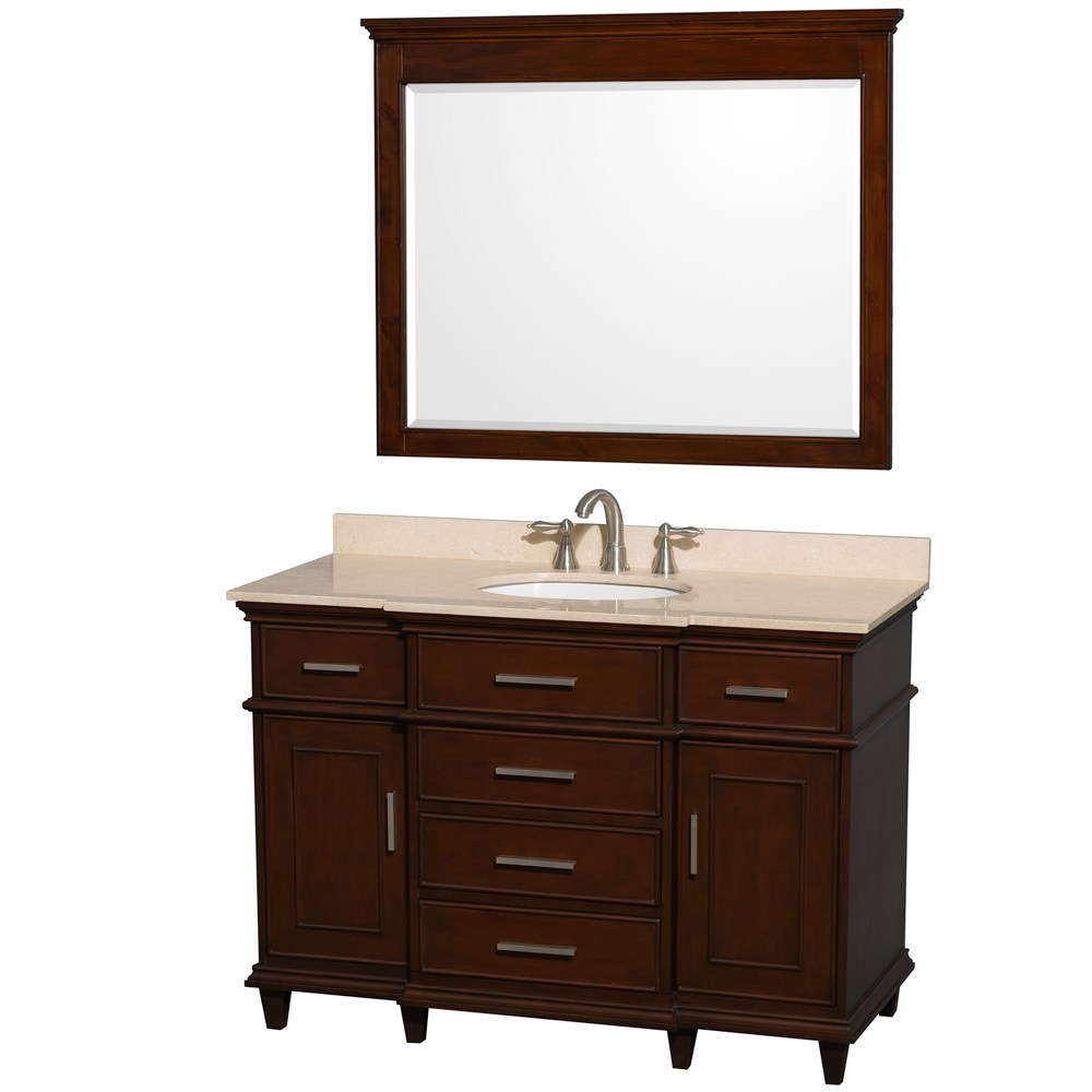 "Berkeley 48"" Single Bathroom Vanity by Wyndham Collection - Dark Chestnut WC-1717-48-SGL-CDK"