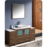 "Fresca Torino 60"" Walnut Brown Modern Bathroom Vanity with 2 Side Cabinets, Vessel Sink, and Mirror FVN62-123612WB-VSL"