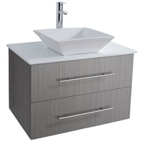 "Bianca 30"" Wall-Mounted Modern Bathroom Vanity - Grey Oak WHE007-30-GROAK"
