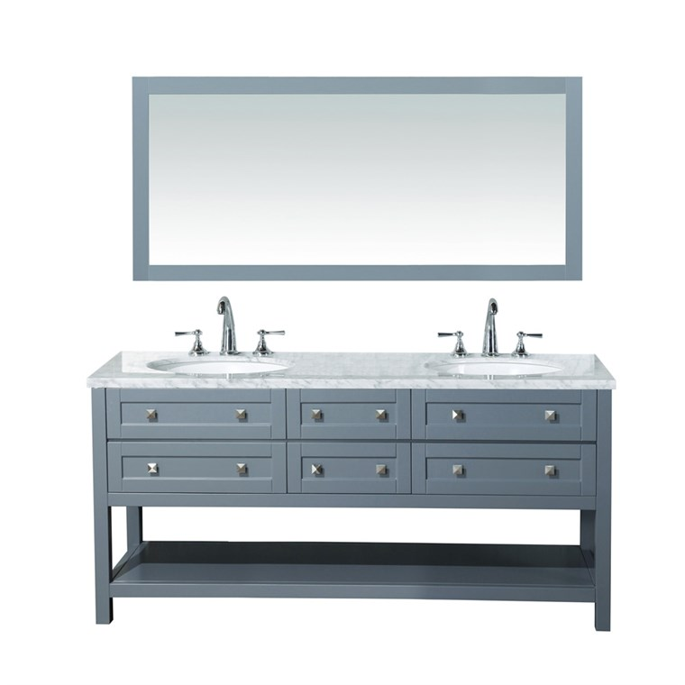 "Stufurhome Marla 72"" Double Sink Bathroom Vanity with Mirror - Grey HD-6868G-72-CR"