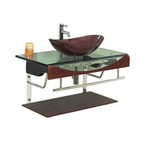 "Versa 36"" Bathroom Vanity with Glass Countertop - Chocolate B204CHOCOLATESET*"