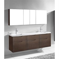 "Madeli Bolano 72"" Double Bathroom Vanity for Integrated Basin - Walnut B100-72D-022-WA"
