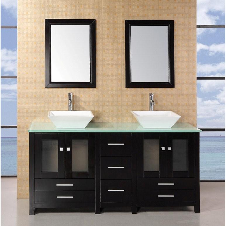 "Design Element Arlington 61"" Double Sink Bathroom Vanity with Glass Top - Espressonohtin Sale $1599.00 SKU: DEC072B-G :"
