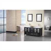 "Design Element Arlington 61"" Double Sink Vanity Set - Espresso DEC072B"