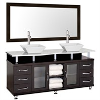 "Accara II 72"" Double Bathroom Vanity - Espresso w/ White Carrera Marble Counter B706T-72-ESP-WHTCAR"