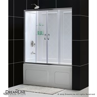 "Bath Authority DreamLine Visions Frameless Sliding Tub Door and QWALL-Tub Backwalls Kit (56"" to 60"") DL-6995"