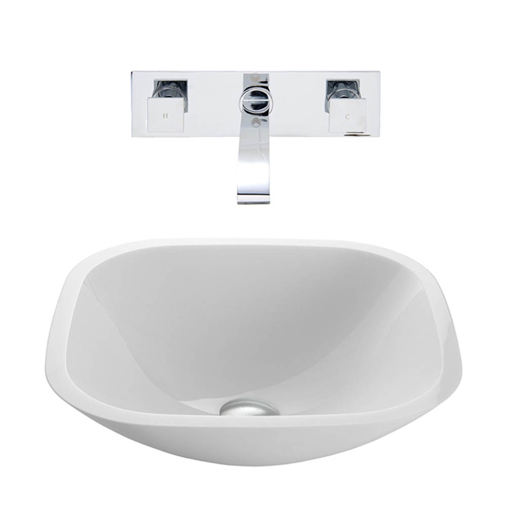 VIGO Square Shaped White Phoenix Stone Vessel Sink with Titus Wall Mount Faucet Set VGT221-