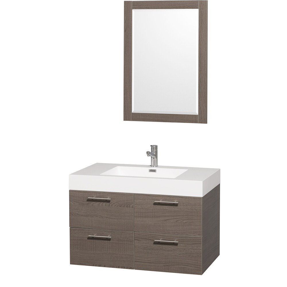 "Amare 36"" Single Bathroom Vanity in Gray Oak, Acrylic Resin Countertop, Integrated Sink, and 24"" Mirror WCR410036GOAR"