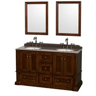 "Rochester 60"" Double Bathroom Vanity by Wyndham Collection - Cherry WC-J231-60-DBL-VAN-CHE"